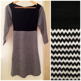 Angie- Celia 3/4 sleeve mini chevron knit dress