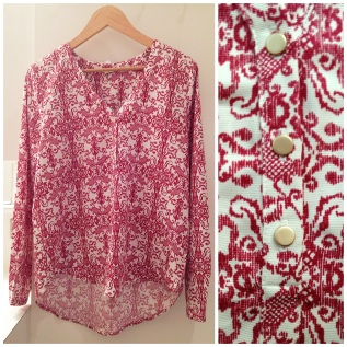 Under Skies- Chandler damask print henley blouse