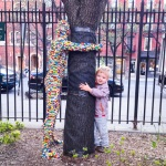 Tree hugger lego man in chelsea