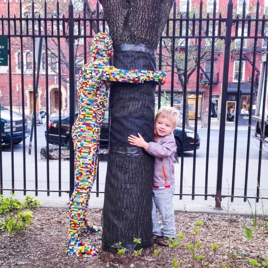 Tree hugger lego man in chelsea