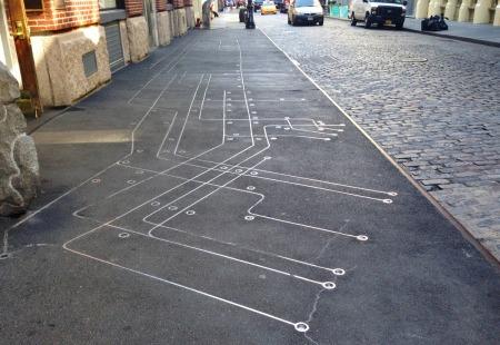 NYC subway sidewalk map SoHo