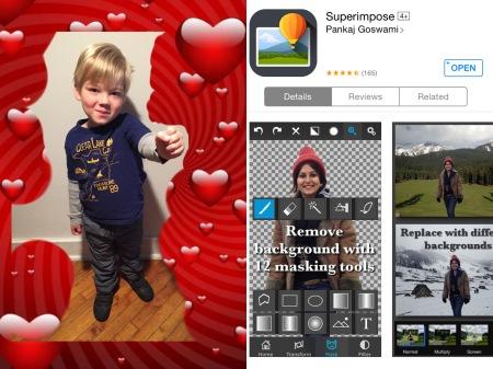 valentine card using superimpose