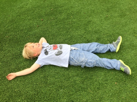 Enjoying the astroturf Washington Square Park